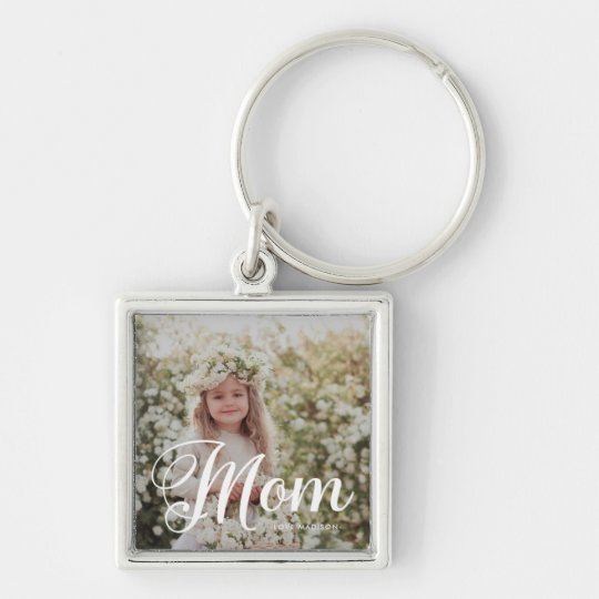 Stylish Mom Typography Photo and Name Keychain