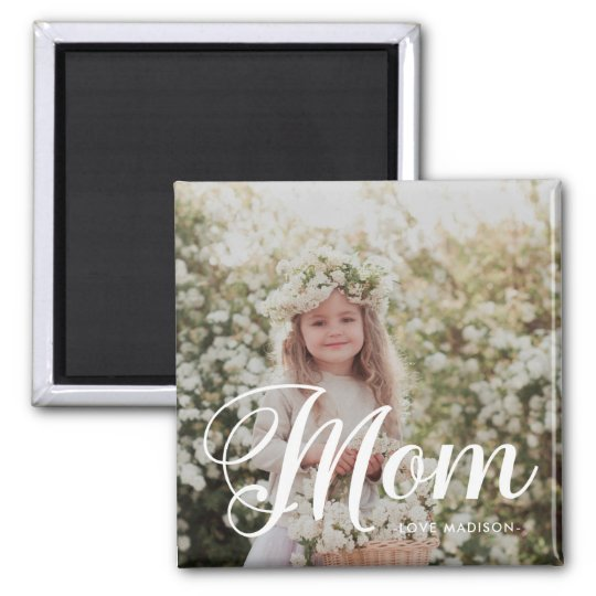 Stylish Mom Typography Photo and Name Magnet
