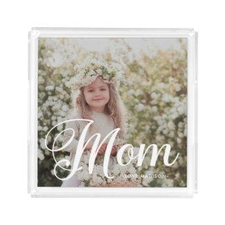 Stylish Mom Typography Photo and Name Tray