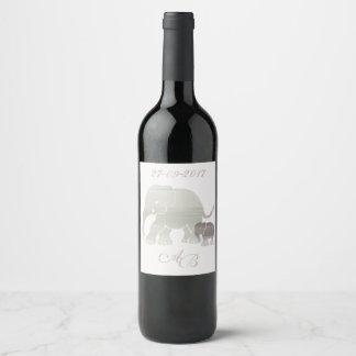 Stylish monogram and custom year elephant vintage wine label