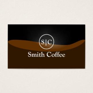 Stylish Monogram Black Coffee Business Card