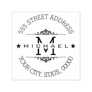 Stylish Monogram Modern Script Return Address Self-inking Stamp