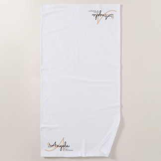 stylish monogram on simple, clean & clear white beach towel
