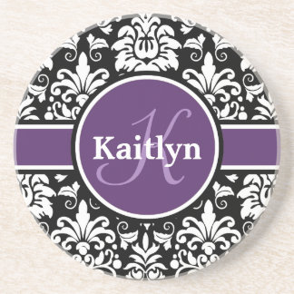 Stylish Monogram Purple Black White Damask Beverage Coasters