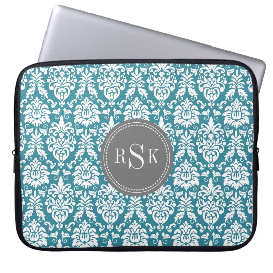 Stylish Monogram Trio Teal Damask Laptop Sleeve