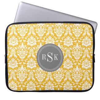 Stylish Monogram Trio Yellow Damask Laptop Sleeve