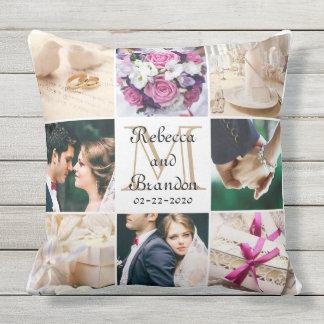 Stylish Monogram Wedding Modern Keepsake Photos Outdoor Pillow