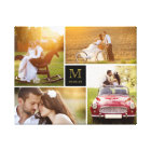 Stylish Monogram Wedding Photo Collage Canvas