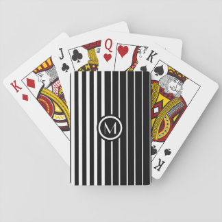 Stylish monogrammed black and white stripes playing cards