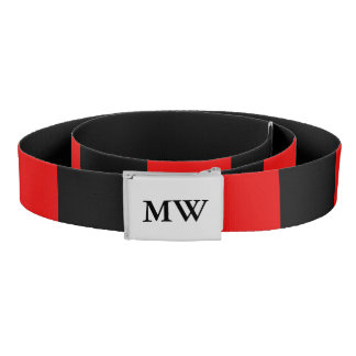 Stylish monogrammed red and black belt