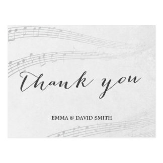Stylish Music Notes Thank You Postcard