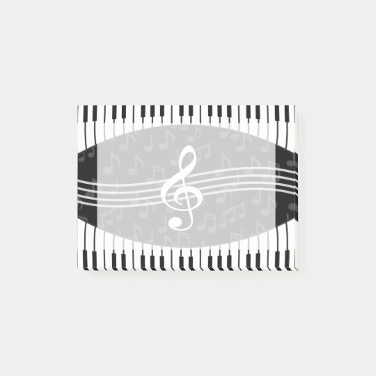 Stylish Music Notes Treble Clef and Piano Keys