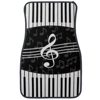Stylish Music Notes Treble Clef and Piano Keys Car Liners