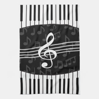 Stylish Music Notes Treble Clef and Piano Keys Kitchen Towel