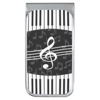 Stylish Music Notes Treble Clef and Piano Keys Silver Finish Money Clip
