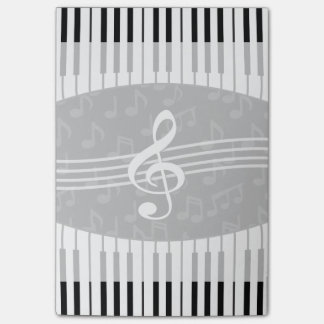 Stylish Music Notes Treble Clef and Piano Keys Sticky Note