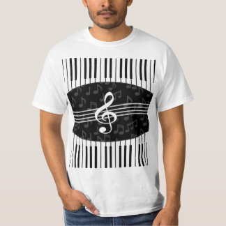 Stylish Music Notes Treble Clef and Piano Keys T-Shirt