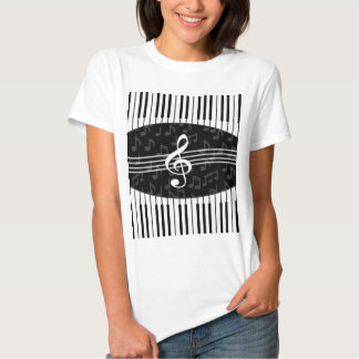 Stylish Music Notes Treble Clef and Piano Keys T Shirts