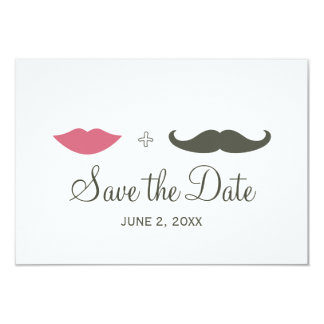 "Stylish Mustache and Lips Save the Date 3.5"" X 5"" Invitation Card"