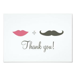 Stylish Mustache and Lips Thank You Custom Invitations