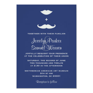 Stylish Mustache and Lips Wedding Announcement
