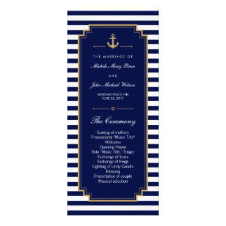 Stylish Nautical Blue Wedding Program Rack Cards