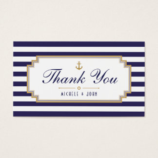 Stylish Nautical Blue White Thank You Tag Cards