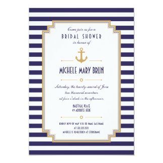 Stylish Nautical Bridal Shower Invitation