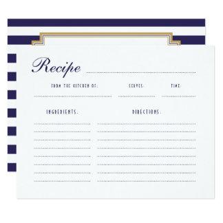 Stylish Nautical Bridal Shower Recipe Cards