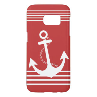 Stylish Nautical Red Design Samsung Galaxy S7 Case