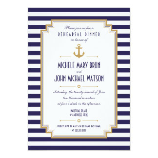 Stylish Nautical Rehearsal Dinner Invitation