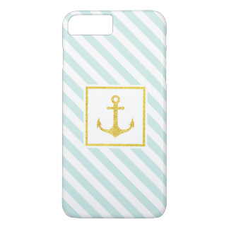 Stylish Nautical Stripes Faux Glitter Anchor iPhone 7 Plus Case