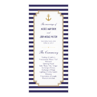 Stylish Nautical Wedding Program Rack Cards