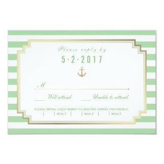"Stylish Nautical Wedding RSVP Card Meal Choice 3.5"" X 5"" Invitation Card"