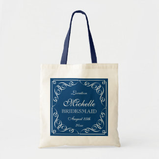 Stylish navy blue wedding tote bags for bridesmaid
