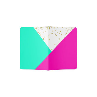 Stylish neon pink turquoise color block gold girly