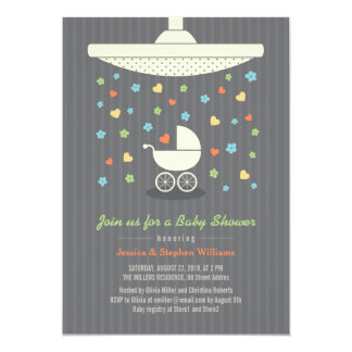 Stylish Neutral Baby Shower Colorful Invitation