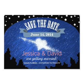 "Stylish Night Sky Stars Save the Date Cards 5"" X 7"" Invitation Card"