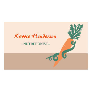 Stylish Nutritionist Girly Swirls and Carrot Business Card