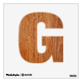 Stylish Oak Wood Wall Decal Letter G