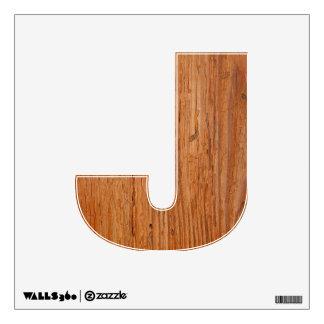 Stylish Oak Wood Wall Decal Letter J