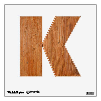 Stylish Oak Wood Wall Decal Letter K