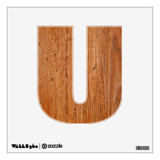 Stylish Oak Wood Wall Decal Letter U Small