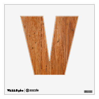 Stylish Oak Wood Wall Decal Letter V Small