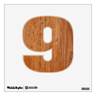 Stylish Oak Wood Wall Decal Nine Small