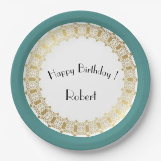Stylish-Ocean-Blue-Birthday_Medieval-Gold-Shield- Paper Plate