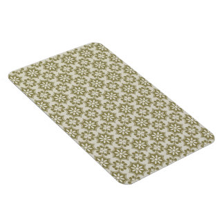 Stylish olive green Fleur de Lis repeating pattern Rectangular Photo Magnet