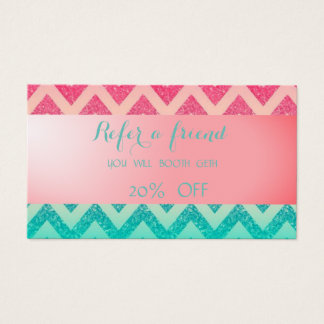 Stylish Ombre Glittery Zigzag  Referral Card