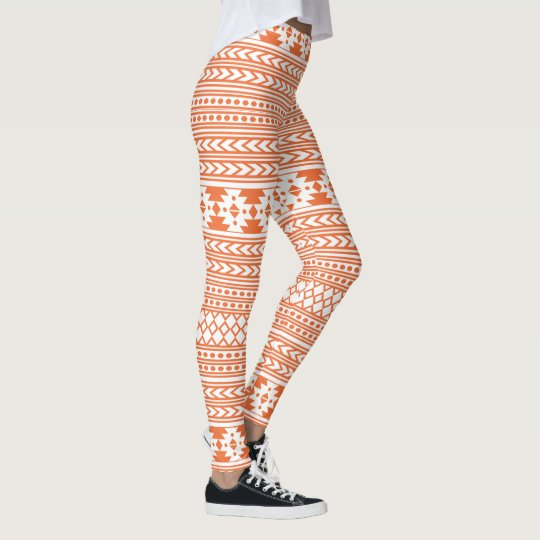 Stylish Orange And White Aztec Leggings