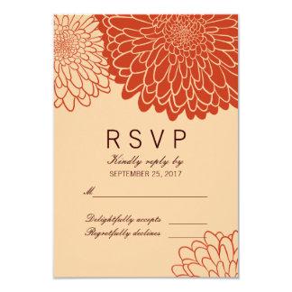 Stylish Orange Chrysanthemums Response RSVP Card